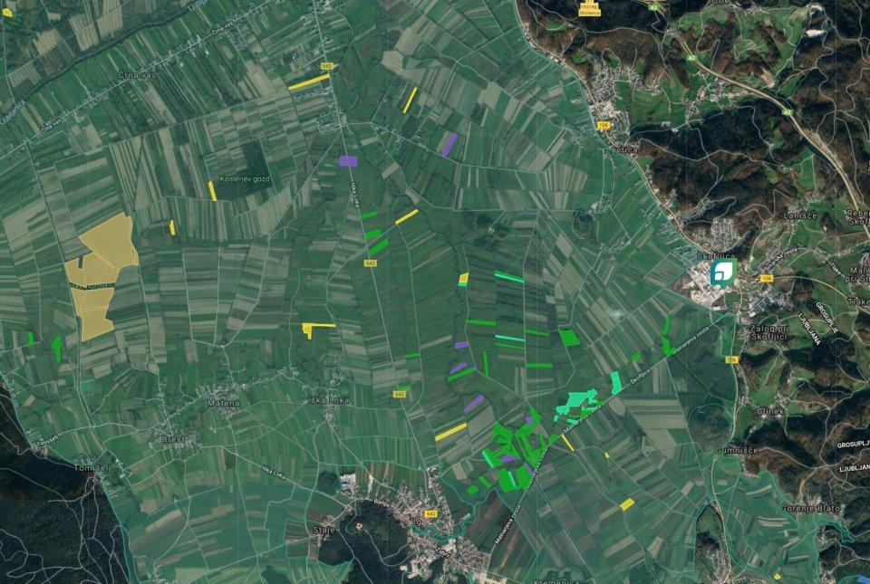 Zemljevid projektnih zemljišč PoLJUBA